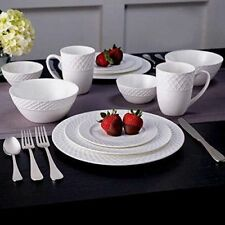 New Mikasa Trellis Swirl Bone Porcelain China 36 Piece Dinnerware Set