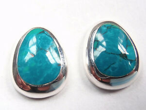 Blue Green Turquoise with Soft Corners 925 Sterling Silver Stud Earrings