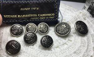 LOT 8 REPLACEMENT BUTTONS VITALE BARBERIS CANONICO SILVER TONE COA 2F 6 SMALL