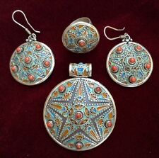 Silver Enamel & Coral Moroccan Berber Star Parure- Pendant, Earrings & Ring # 2
