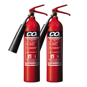 NEW 2 X 2 KG CO2 CARBON DIOXIDE FIRE EXTINGUISHER FOR HOME/OFFICE