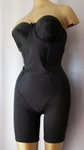 SCULPTING BLACK strapless vintage 1980s ALL-IN-ONE BODY SHAPER GIRDLE sz 38 C