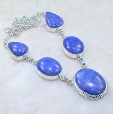 "Handmade Blue Sapphire Gemstone 925 Sterling Silver Necklace 19"" #AA1025"