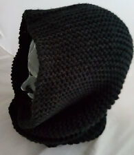 Made to Order Men's Hooded Infinity Scarf. Completed item in Black