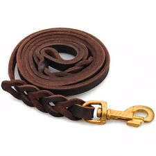2M/6.5ft Pet Dog Cow Leather Rope Training Leash Slip Lead Strap Traction Collar