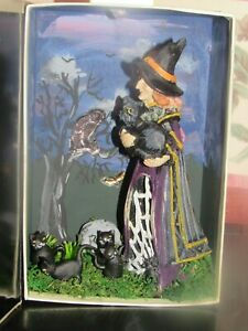 """dollhouse halloween """"book"""" roombox diarama cats and witch"""
