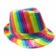 Gay Pride Rainbow Striped Festival Colours Lesbian LGBT Party Shine Trilby Hat