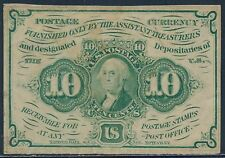 FR1242 10¢ 1ST ISSUE FRACTIONAL NOTE S.E. WITH MONOGRAM XF-AU BS9397