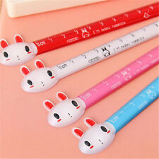 Korea Design Cute Rabbit Head Plastic Ruler Student Stationery 12CM 1pc