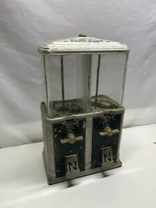 1930's DOUBLE NUGGET ONE CENT PENNY PEANUT GUMBALL VENDING MACHINE DISPENSER