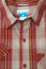 Columbia Men's Red Stone Check Omni-Wick Trail Outdoors Shirt L Large