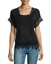 $215 JOHNNY WAS SZ L LACE EMBROIDERED RAYON GEORGETTE LARGE BOHO BLOUSE