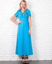 Vintage 60s 70s Blue Mod Dress Ruffle Lace Neckline Boho Hippie Maxi Medium M