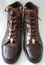 Belvedere Fusion Men's Stud Leather & Alligator Hi Top Sneaker Boots Size 10 B