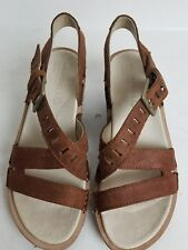 MERRELL SIRAH LATTICE WOMENS WEDGE SANDAL BROWN LEATHER  WALKING SHOES SIZE 7