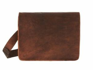 Men's Pure Leather Vintage Messenger Shoulder Full Flap Laptop Cross body Bag