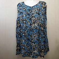 Roamans 22W Shirt Top Blouse Button Up Sleeveless Blue Tan Geometric Tunic