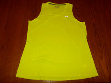 NEW UNDER ARMOUR HEAT GEAR BRIGHT YELLOW SEMI-FITTED RUNNING TANK TOP WOMENS XL