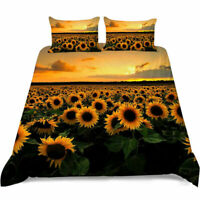 3D Sunflower Doona Duvet Cover Queen Bedding Set Comforter Cover PillowCase