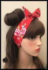 Red Floral Headband Bandana Hairband Neck Scarf Hair Tie Band Vintage Fabric