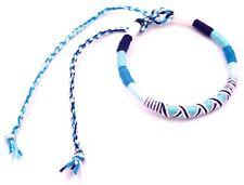 Bracelet Brésilien de l'Amitié Macramé Coton Friendship bleu blanc