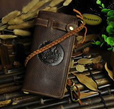 Native Handmade Genuine Leather Mens Rider Biker Long Wallet W/ Braided Leather