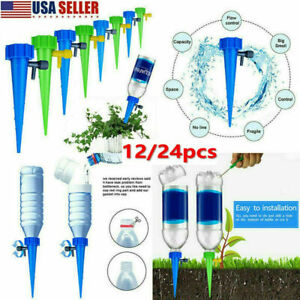 24Pcs Plant Self Watering Spikes-Adjustable Automatic Irrigation System Stakes