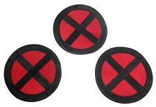 X-Men Red and Black Logo 3 1/2 Inch Wide Iron On Patch Set of 3 Patches