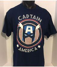 New Mavel's Captain America T- shirt Men's Medium Short Sleeve Blue T Shirt