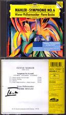 Pierre Boulez firmato MAHLER SYMPHONY NO. 6 DG CD 1995 Vienna Filarmonica