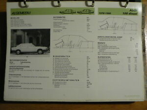 AUDI 100 DIESEL 1978-80 INFO TECHNICAL INFORMATION CAR AUTO OLY008