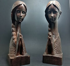 7 inch praye Beauty girl Sculpture Agarwood wood carved statue Collection 1pcs