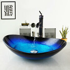 US Bathroom Oval Glass Vessel Sink Bowls ORB Faucet Hand Painting Drain Toilet