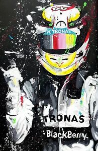 Lewis Hamilton - F1 Car Racing Painting Large Poster / Canvas Picture Prints
