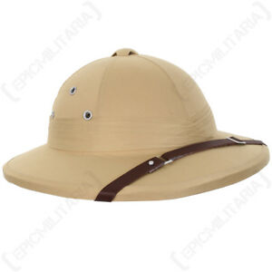 French Tropical Pith Helmet - Khaki Colonial Explorer Adventurer Safari Sun Hat
