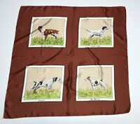 "Anonymous Vtg Hand Rolled Pure Silk Scarf 32"" Sq Hunting Dogs Spaniel Terrier"