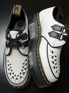 Dr Martens Sidney Creeper Quad Platform White+Black Leather Shoes UK 7 Brand new