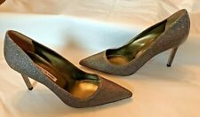Manolo Blahnik Gold Metallic Fabric Pointed Toe Pumps Heel Shoes 39.5