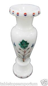 White Marble Flower Vase Jar Real Gems Inlay Mosaic Floral Arts Table Deco Gifts