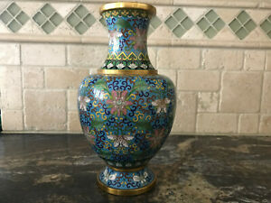 """Chinese Cloisonne Metal Vase Blue Gold Pink Floral 9"""" Very Nice"""
