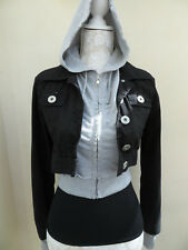 NEW LOOK ❤ Black Grey 2 Layered ZIPPED Cropped HOODED Coat JACKET ❤ 8 10 36-38