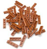 Lego 50 New Dark Orange Plates 1 x 4 Dot Parts Pieces