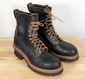Vintage 70's RED WING 2218 Black Leather Steel Toe Logger Boots Size 8.5 B USA