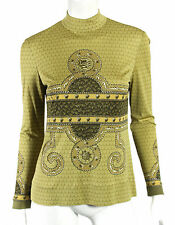 HERMES Vintage Chartreuse ROCAILLE Shell Print Silk Knit Top 40
