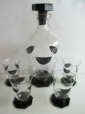 KARL PALDA - BOHEMIAN GLASS SET for liquor DECANTER TUMBLERS. ART DECO 1930s