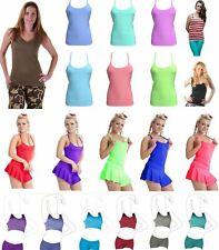Ladies Vest Top Strappy Summer Camisole Shiny Tank Girls Crop Top Plain Cami UK