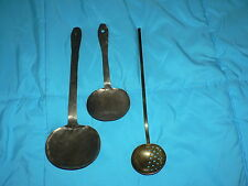 Antique Vintage Brass Spoon Ladle set of 3 Copper
