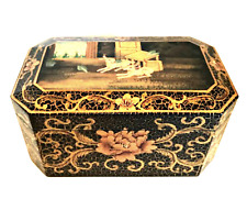 Trinket Box Crackle Painted Flowers Lambs Felt Lined Footed 5.5 x 10 inches