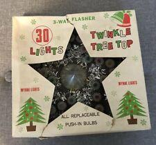 Vintage Christmas Tree Topper, Twinkle Lights, In Original Box