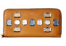 Fossil Sydney Accordion Zip Around Women's Leather Jewel Wallet Brown Sugar NEW